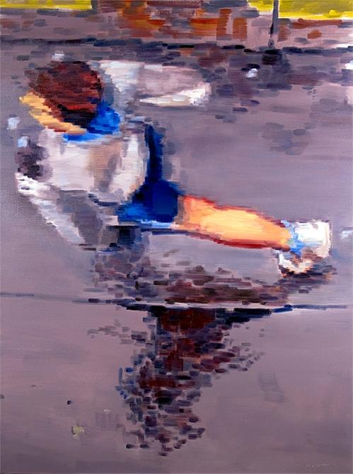 figurative painting image of Paris runner