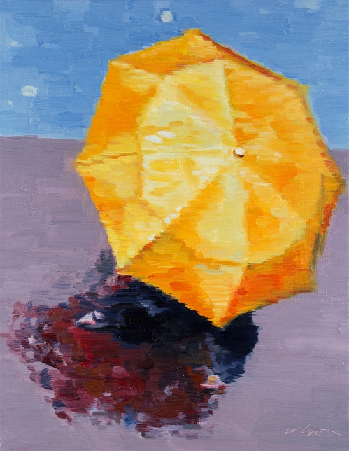 original Impressionistic figurative painting Orange Umbrella In Paris
