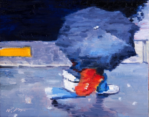 Woman in Jeans under Umbrella Running in Paris Rain original figure painting
