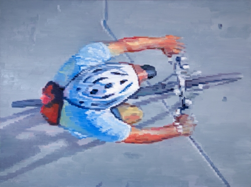 Cyclist Wearing Helmet Riding in Santa Monica, large figure painting