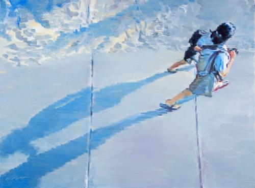 "24"" x 18"" oil painting, Pixel Impressionism aerial portrait"