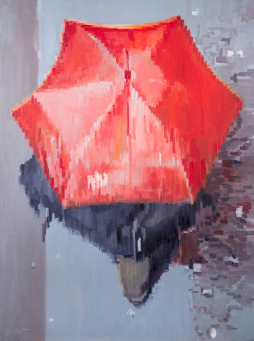 large original figurative oil painting Red Umbrella Moving In Paris Rain