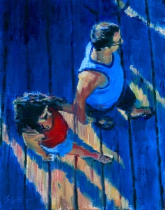 original figurative oil painting, aerial view of couple walking on pier