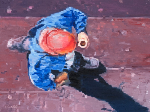 Worker with Hard Hat and Espresso Impressionistic painting